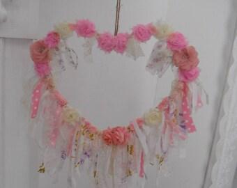 heart wreath dream catcher rag wreath shabby decor cottage chic floral wreath nursery decor lace rags pink flowers cream woodland wreath