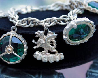 Chunky Charm Bracelet, Emerald Glass Cabs, Griffin, Maltese Cross Charms