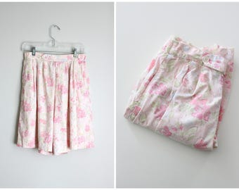 80s pastel floral print ladies shorts - 90s high waisted shorts / Charter Club - vintage preppy shorts / Sweet Kawaii - pink floral shorts