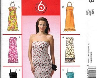 McCall's M4823 Strapless Summer Dress Evening Spaghetti Straps Halter Sewing Pattern 4823  UNCUT Size 4, 6, 8, 10