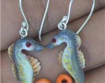Sea Horse Earrings 925 Sterling Silver Carved Bufallo Bone E1178
