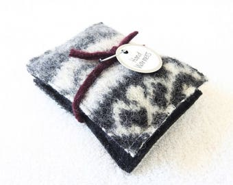 Pocket Hand Warmers BLACK & GRAY Fair Isle Felted Sweater Wool Handwarmers Rice Bags Stocking Stuffer Teacher Coworker Gift by WormeWoole