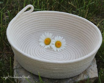 Natural Handmade Oval Rope Basket. Home Decor and Storage. Made in Montana. myMountainStudio OOAK Basket 017. Ready to Ship.