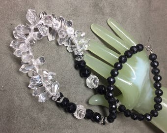 """Vintage 24"""" Long Clear & Black Beaded Single Strand Necklace"""