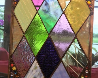 AVAILABLE NOW stained glass panel window treatment or Garden Art Decor...Fab Price