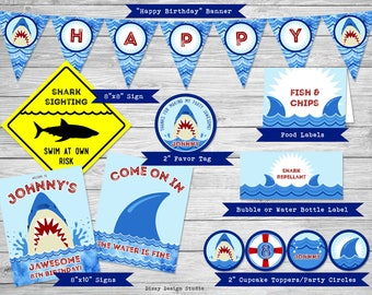 Shark Party Printables | Pool Party Printables | Shark Birthday Banner | Shark Birthday Party | Shark Birthday Printables