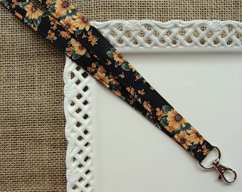 Fabric Lanyard - Sunflower Bouquet on Black