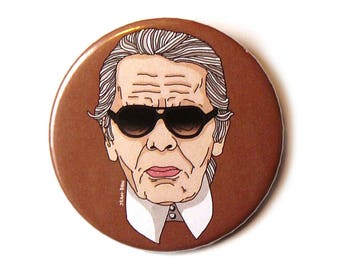 karl lagerfeld buttons pin illustration
