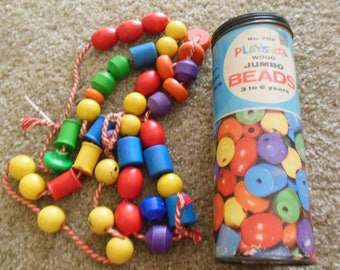 Vintage Playschool wooden Beads and Laces, In Container