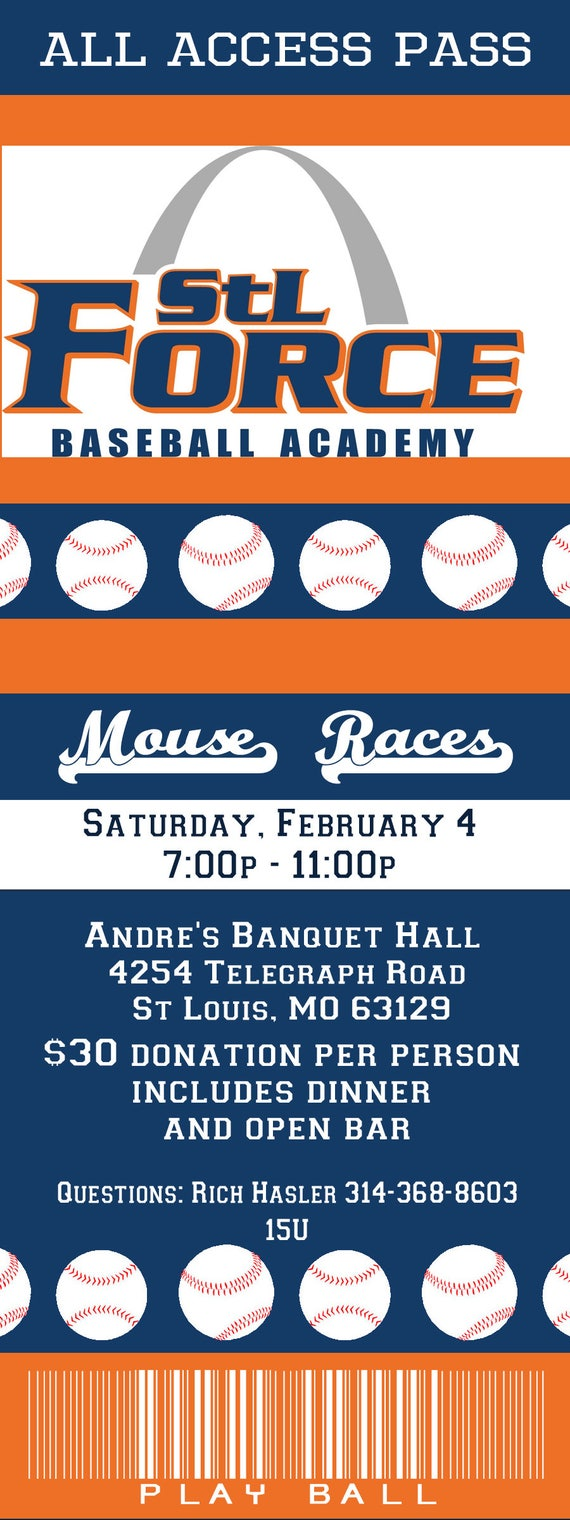 STL Force Baseball Academy Mouse Races Custom Ticket