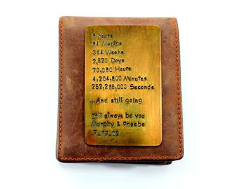 Brass Wallet Insert Card , 8th Anniversary Gift  , Boyfriend Gift, husband gift , girlfriend gift , wife  , Anniversary gift for man, Art
