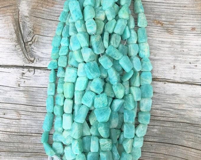 Russian Amazonite Gemstone Beads, Faceted Amazonite Beads,  Amazonite Nuggets