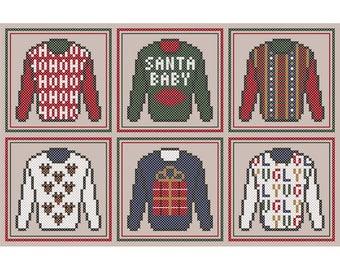 Ugly Christmas Sweaters - Set of Six Original Cross Stitch Christmas Ornament Charts