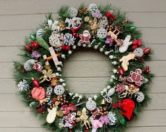 Cij Sale Traditional Wreath Vintage Style Wreath Christmas Wreath Wooden Ornaments Handmade