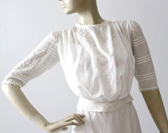 antique Edwardian blouse, pin tuck embroidered white cotton top