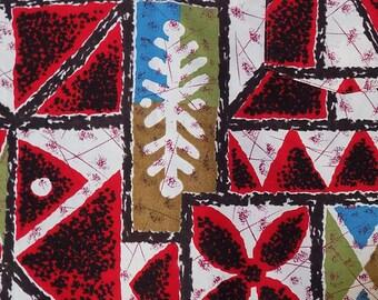 1960s NAPILI Hawaiian pullover shirt / Tiki / Cotton / Red, White and Blue