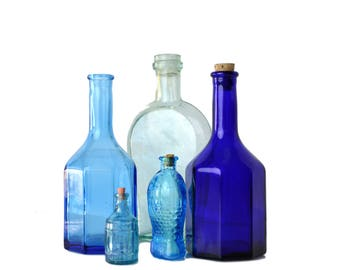 Instant Collection Blue Glass Bottles Lot Mini Bottles, Five Blue Glass Bottles