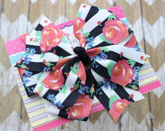 Baby Bows, Toddler Bows, Girls Hair Bows, Hair Clip, Boutique Hair Bow, Floral Roses Black White Stripes Bow, Back to School Bow, 5 Inch Bow