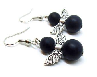 Black Onyx Angel Gemstone Earrings