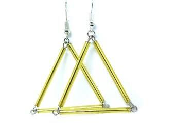 Beaded Triangle Gold Earrings