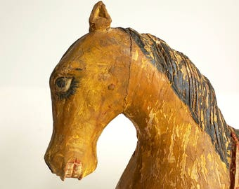 Wooden Horse Folk Art Stallion Hand Carved On Stand Painted Horse