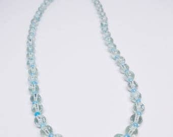 Clear beads with splashes of blue & white necklace