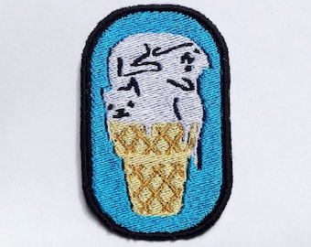 Cat Cream Cone Embroidered Patch