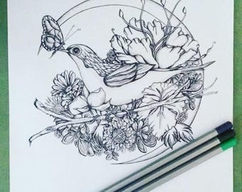 Adult Kids Coloring Page Bird Moon Original Nature Art Crescent Butterfly Floral