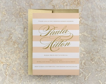 Blush and Gold Striped Bridal Shower Invitation, Wedding Shower, Bridal Tea, JPEG, PDF, Template, Printable Tea Invitation, Invites