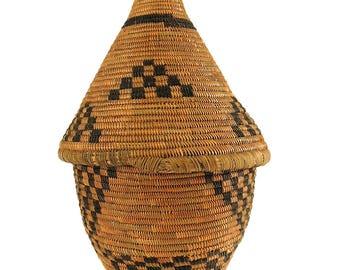 Tutsi Basket Lidded Tight Weave Rwanda African Art 93574
