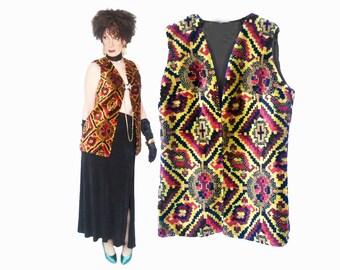 Unique Bohemian Outfit Women Boho Separates Long Festival Vest 70s Vintage Plush Chenille Tapestry Formal Top Womens Vest Medium