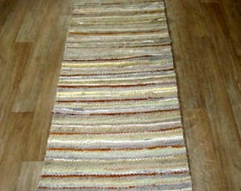 Long Scandinavian style Hand woven rag rug 1.7 feet by 8.07 feet(52 cm x 246cm)  flax, caramel ,ready for sale