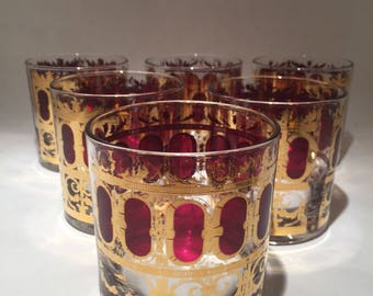 7 Cranberry Scroll Culver Double Old Fashioned Glasses