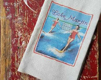 Tea Towel Vintage Water Skiing Glamour Girls Squad Goal Lake Martin or  Any Lake Name