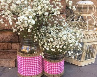 Mason Jar Wrap, Pink Herringbone, Mason Jar Decoration, Baby Shower, Party, Wedding Decoration