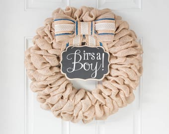 BEST SELLER! Baby Spring Wreaths for Front Door, Its a Boy Front Door Wreaths, Easter Wreath Burlap Farmhouse Wreath, Home