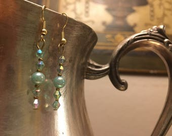 Classy teal dangle earrings