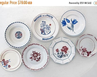 Set of 7 antique French plates flowers stencils, blue and red collection , wall decor, French poste , decoratives plates  kitchen decor