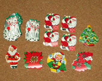 Large Lot of Vintage Christmas Gummed Labels Seals Santa Reindeer Tree poinsettia
