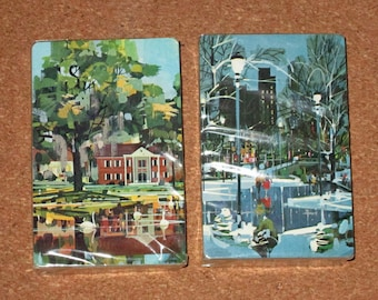 Vintage SET of 2 Deck CITY SCENE Playing Cards Unopened by Stardust