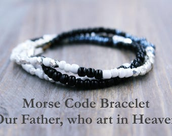 The Lord's Prayer Bead Bracelet, Morse Code Bracelet, Catholic Gift for Her, Confirmation Gift for Girls, Our Father Morse Code Jewelry