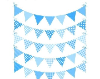 40% OFF SALE Blue Bunting Clip Art, Baby Boy Bunting Flags Clipart, Baby Shower Clipart, Banner Flags, Commercial Use