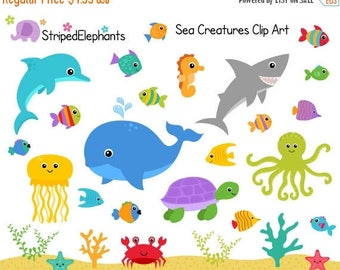 40% OFF SALE Sea Creatures Clip Art - Under the Sea Clipart - Ocean Animals Clip Art - Instant Download - Commercial Use