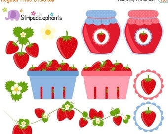 40% OFF SALE Strawberry Clip Art - Strawberry Jam Clipart - Digital Clipart - Instant Download - Commercial Use
