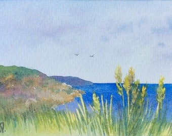 ACEO Original watercolor painting - Calabrian coast
