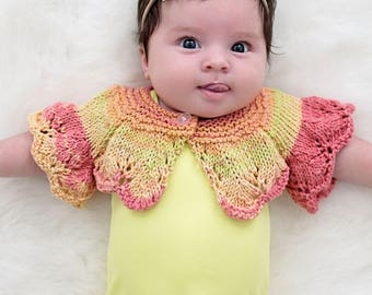 Baby Shrug PATTERN, The Gracie Shrug, Newborn up to 12 Months Sizes, Summer Sweater, Girls Sweaters, Cotton Knits, Feminine, Infants, Light