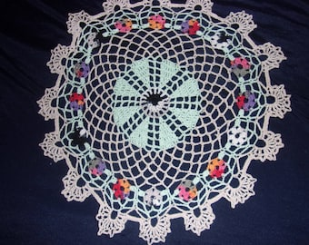 Flower Doily, Spring Decor, 11 inches