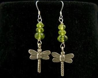 Peridot Earrings, Dragonfly Earrings, Green Earrings, Green Beads, Insect Jewelry, Insect Earrings, Handmade Jewelry, Sterling Drop Earrings