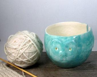 Cat Yarn bowl Knitting and crochet  bowl Ready to ship