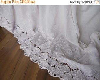 clearance sale Lace bedskirt - Ivory off white eyelet lace cotton Dust ruffle - QUEEN KING Bed skirt scalloped edge - shabby chic romantic e